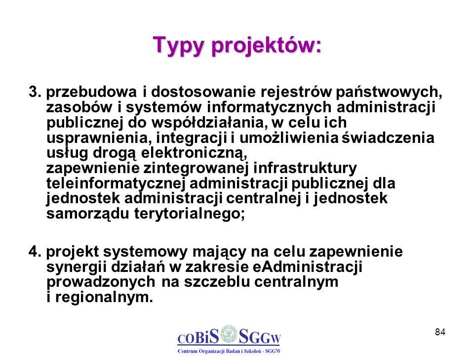 84 Typy projektów: 3. przebudowa i dostosowanie rejestrów państwowych, zasobów i systemów informatycznych administracji publicznej do współdziałania,