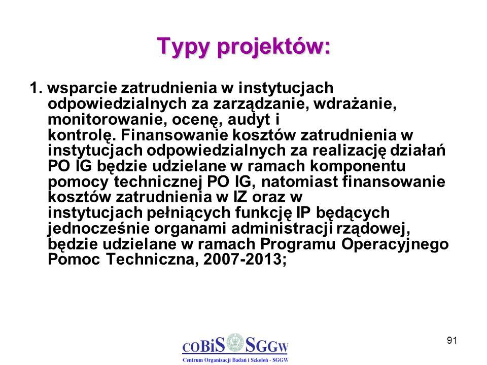 91 Typy projektów: 1. wsparcie zatrudnienia w instytucjach odpowiedzialnych za zarządzanie, wdrażanie, monitorowanie, ocenę, audyt i kontrolę. Finanso