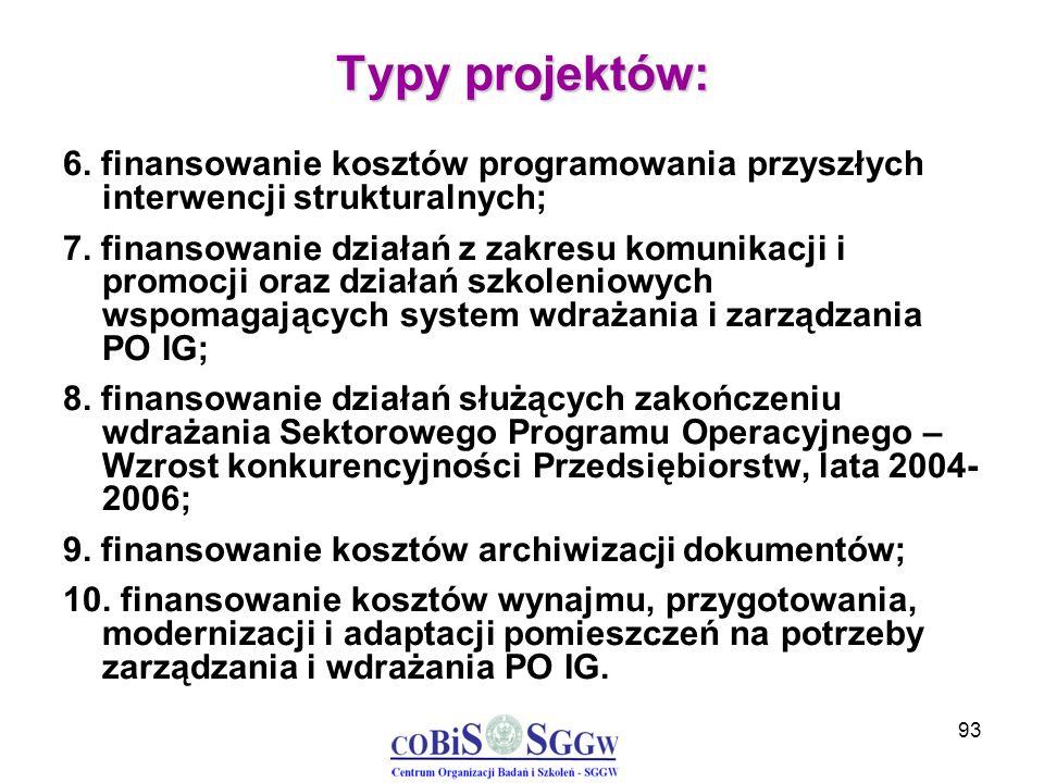93 Typy projektów: 6. finansowanie kosztów programowania przyszłych interwencji strukturalnych; 7. finansowanie działań z zakresu komunikacji i promoc