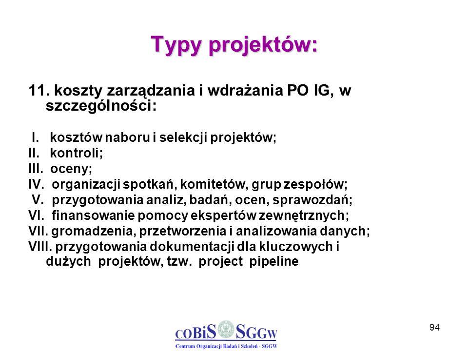 94 Typy projektów: 11. koszty zarządzania i wdrażania PO IG, w szczególności: I. kosztów naboru i selekcji projektów; II. kontroli; III. oceny; IV. or
