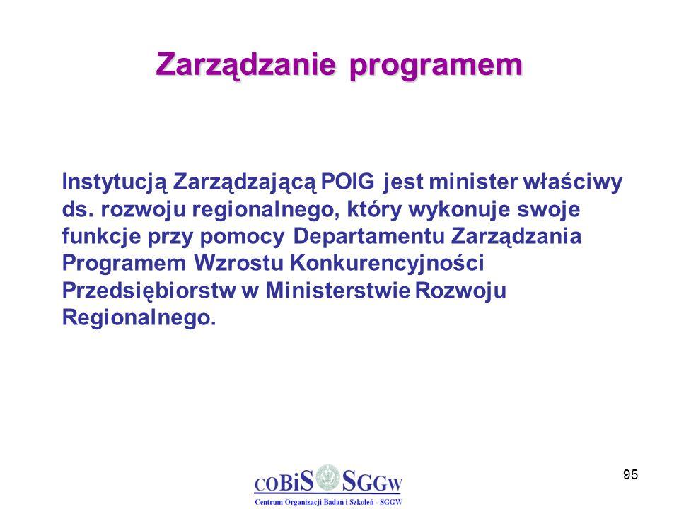 95 Zarządzanie programem Instytucją Zarządzającą POIG jest minister właściwy ds. rozwoju regionalnego, który wykonuje swoje funkcje przy pomocy Depart