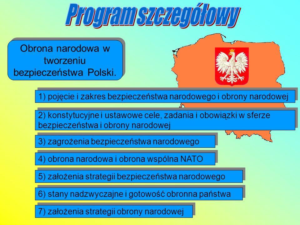Obrona narodowa w tworzeniu bezpieczeństwa Polski. 1) pojęcie i zakres bezpieczeństwa narodowego i obrony narodowej 2) konstytucyjne i ustawowe cele,