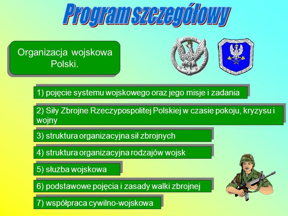 Organizacja wojskowa Polski. 1) pojęcie systemu wojskowego oraz jego misje i zadania 2) Siły Zbrojne Rzeczypospolitej Polskiej w czasie pokoju, kryzys