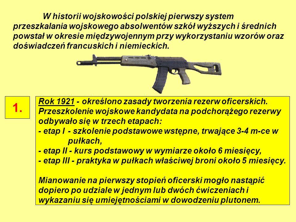 W historii wojskowości polskiej pierwszy system przeszkalania wojskowego absolwentów szkół wyższych i średnich powstał w okresie międzywojennym przy w