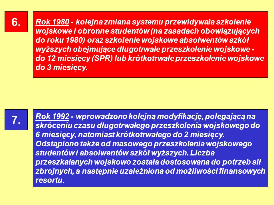 Rok 1980 - kolejna zmiana systemu przewidywała szkolenie wojskowe i obronne studentów (na zasadach obowiązujących do roku 1980) oraz szkolenie wojskow