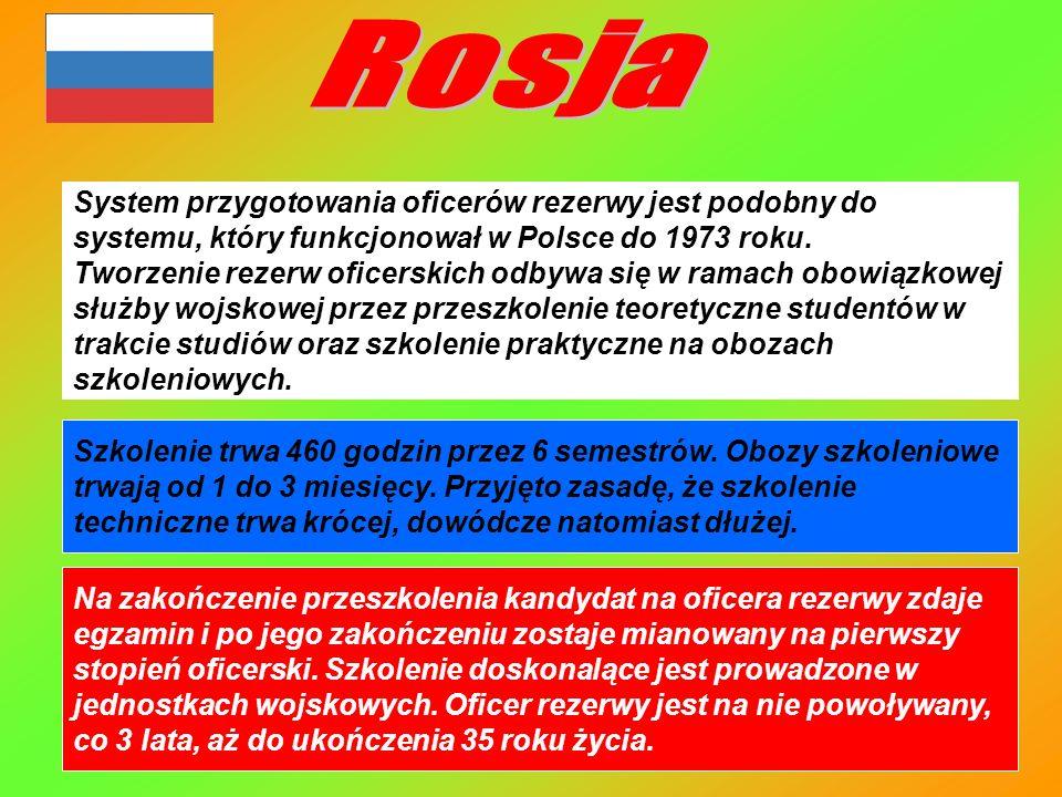 System przygotowania oficerów rezerwy jest podobny do systemu, który funkcjonował w Polsce do 1973 roku. Tworzenie rezerw oficerskich odbywa się w ram