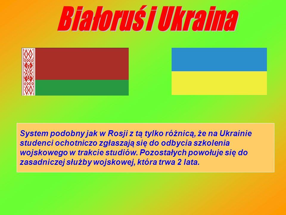 System podobny jak w Rosji z tą tylko różnicą, że na Ukrainie studenci ochotniczo zgłaszają się do odbycia szkolenia wojskowego w trakcie studiów. Poz