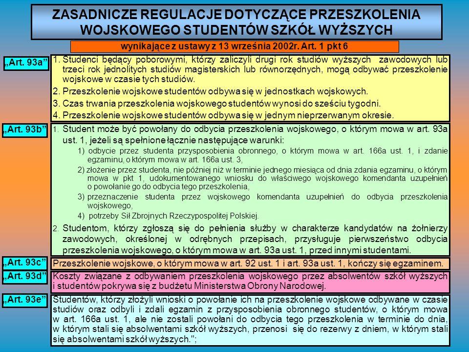 ZASADNICZE REGULACJE DOTYCZĄCE PRZESZKOLENIA WOJSKOWEGO STUDENTÓW SZKÓŁ WYŻSZYCH wynikające z ustawy z 13 września 2002r. Art. 1 pkt 6 Art. 93a 1.Stud