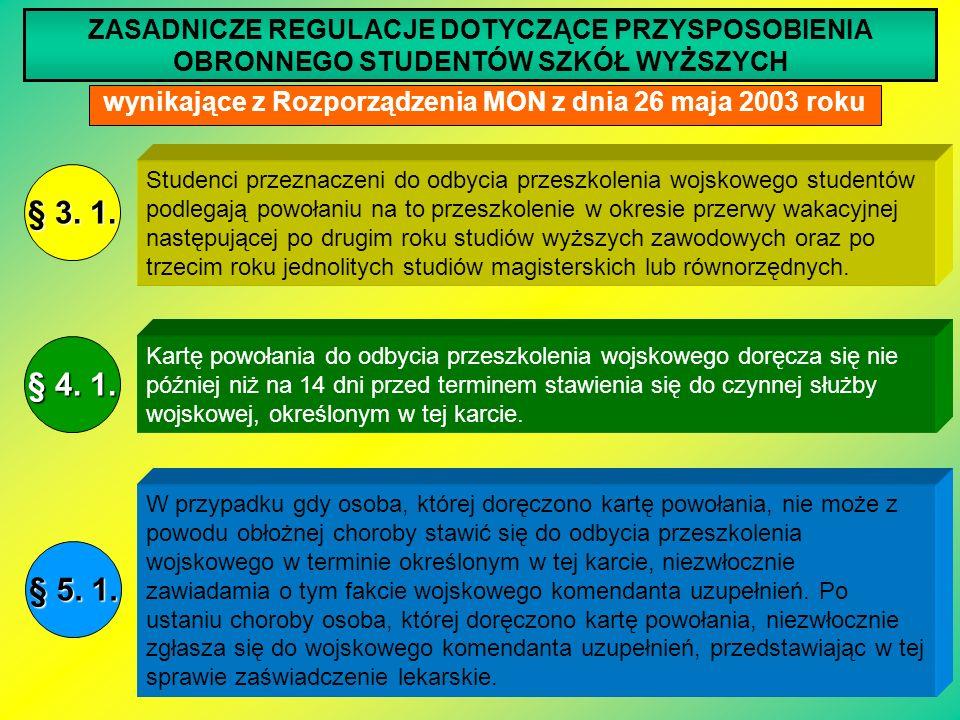 ZASADNICZE REGULACJE DOTYCZĄCE PRZYSPOSOBIENIA OBRONNEGO STUDENTÓW SZKÓŁ WYŻSZYCH wynikające z Rozporządzenia MON z dnia 26 maja 2003 roku Studenci pr