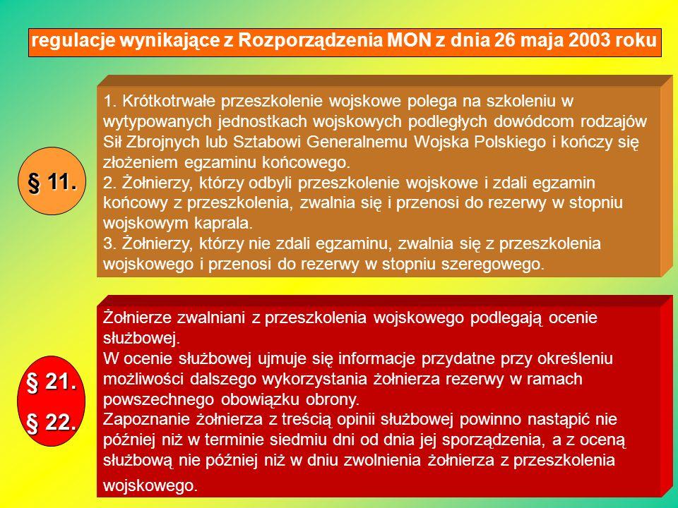 regulacje wynikające z Rozporządzenia MON z dnia 26 maja 2003 roku Żołnierze zwalniani z przeszkolenia wojskowego podlegają ocenie służbowej. W ocenie