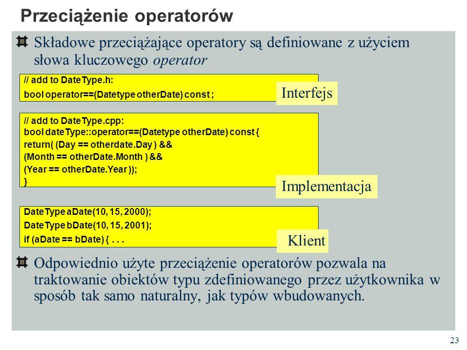 23 Przeciążenie operatorów Składowe przeciążające operatory są definiowane z użyciem słowa kluczowego operator Odpowiednio użyte przeciążenie operator