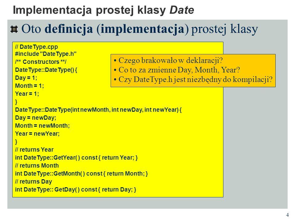 5 Enkapsulacja i ukrywanie informacji Klienci Interfejs Implementacja Enkapsulacja Klasa C++ dostarcza mechanizm grupowania danych i wykonywanych na nich operacji w jeden obiekt Ukrywanie informacji Klasa C++ dostarcza mechanizm określania ograniczeń dostępu do pól i metod klient Deklaracja klasy (plik.h) Definicja klasy (plik.cpp) dana metod a dana pole metoda