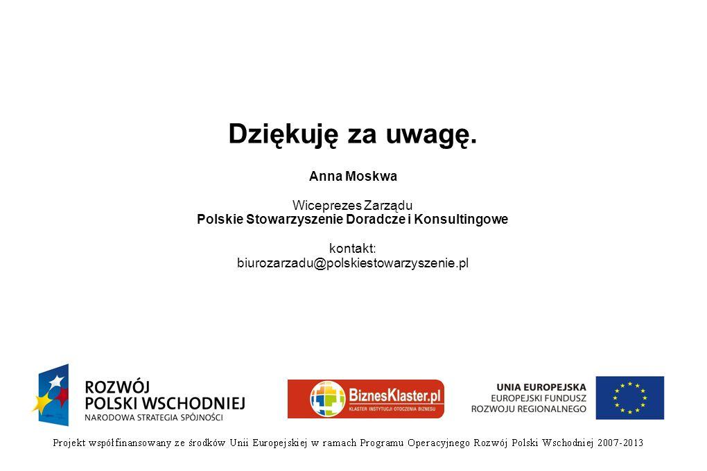 Dziękuję za uwagę. Anna Moskwa Wiceprezes Zarządu Polskie Stowarzyszenie Doradcze i Konsultingowe kontakt: biurozarzadu@polskiestowarzyszenie.pl