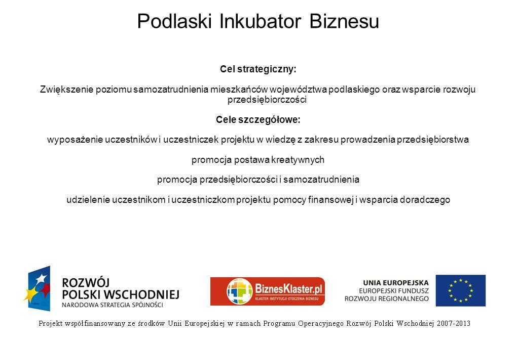 Podlaski Inkubator Biznesu Cel strategiczny: Zwiększenie poziomu samozatrudnienia mieszkańców województwa podlaskiego oraz wsparcie rozwoju przedsiębi