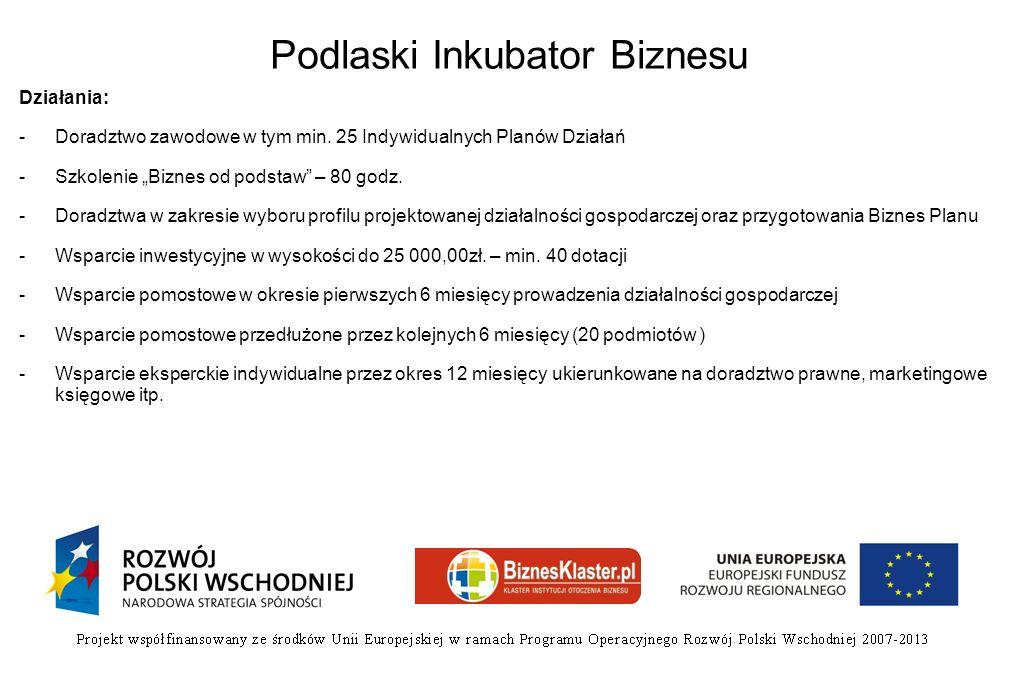 Podlaski Inkubator Biznesu Działania: -Doradztwo zawodowe w tym min. 25 Indywidualnych Planów Działań -Szkolenie Biznes od podstaw – 80 godz. -Doradzt