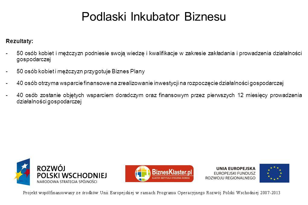 Podlaski Inkubator Biznesu Rezultaty: -50 osób kobiet i mężczyzn podniesie swoją wiedzę i kwalifikacje w zakresie zakładania i prowadzenia działalnośc
