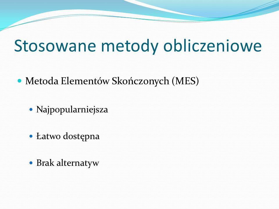 Stosowane metody obliczeniowe Metoda Elementów Skończonych (MES) Najpopularniejsza Łatwo dostępna Brak alternatyw