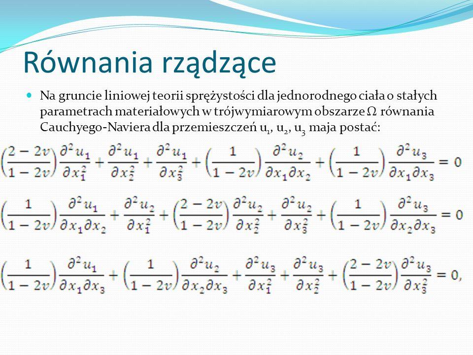 Równania rządzące Na gruncie liniowej teorii sprężystości dla jednorodnego ciała o stałych parametrach materiałowych w trójwymiarowym obszarze równani