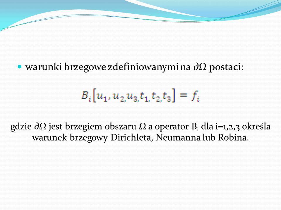 warunki brzegowe zdefiniowanymi na postaci: gdzie jest brzegiem obszaru a operator B i dla i=1,2,3 określa warunek brzegowy Dirichleta, Neumanna lub R