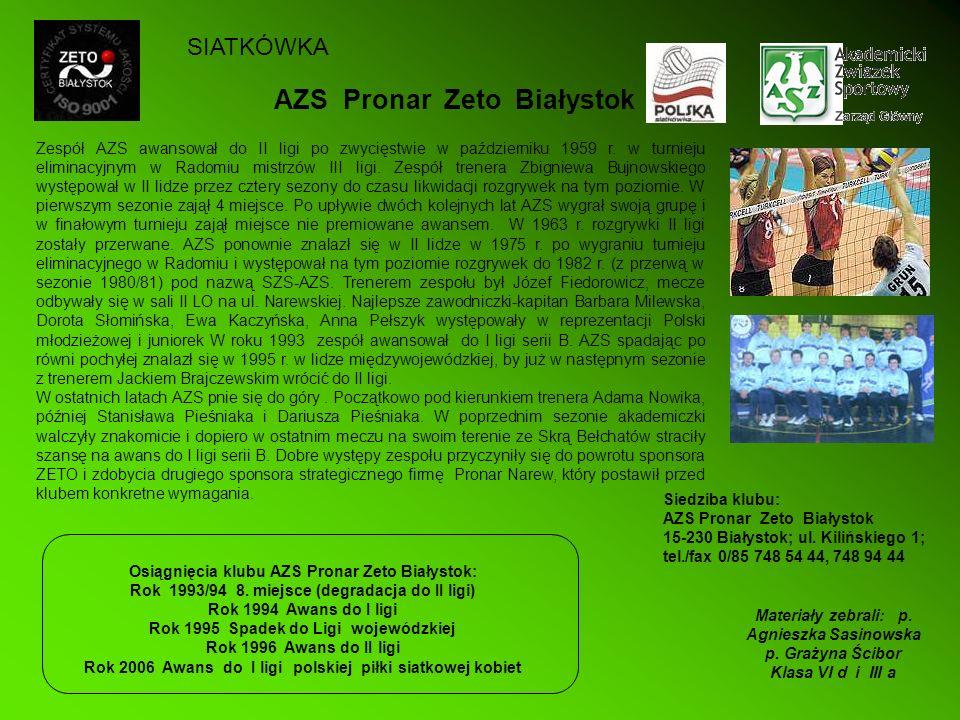 AZS Pronar Zeto Białystok Siedziba klubu: AZS Pronar Zeto Białystok 15-230 Białystok; ul. Kilińskiego 1; tel./fax 0/85 748 54 44, 748 94 44 Zespół AZS