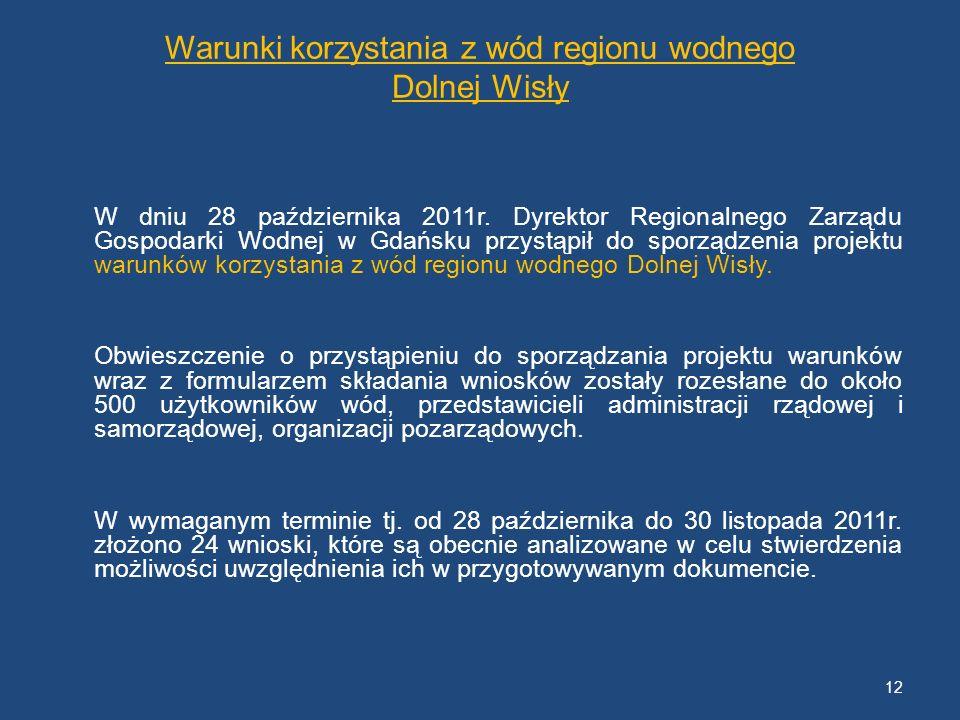 Warunki korzystania z wód regionu wodnego Dolnej Wisły W dniu 28 października 2011r. Dyrektor Regionalnego Zarządu Gospodarki Wodnej w Gdańsku przystą