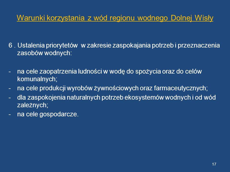 Warunki korzystania z wód regionu wodnego Dolnej Wisły 6. Ustalenia priorytetów w zakresie zaspokajania potrzeb i przeznaczenia zasobów wodnych: -na c