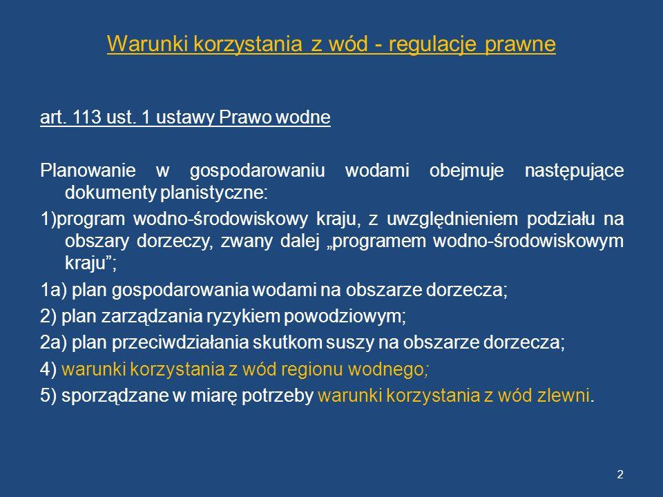 Warunki korzystania z wód - regulacje prawne art. 113 ust. 1 ustawy Prawo wodne Planowanie w gospodarowaniu wodami obejmuje następujące dokumenty plan