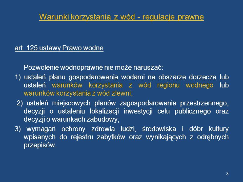 Warunki korzystania z wód - regulacje prawne art. 125 ustawy Prawo wodne Pozwolenie wodnoprawne nie może naruszać: 1) ustaleń planu gospodarowania wod