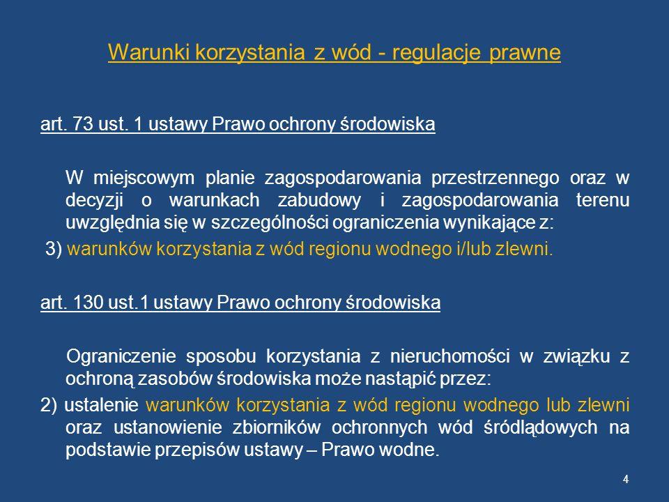 Warunki korzystania z wód - regulacje prawne art. 73 ust. 1 ustawy Prawo ochrony środowiska W miejscowym planie zagospodarowania przestrzennego oraz w