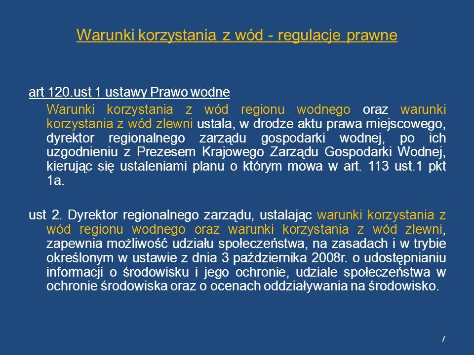 Warunki korzystania z wód - regulacje prawne art 120.ust 1 ustawy Prawo wodne Warunki korzystania z wód regionu wodnego oraz warunki korzystania z wód