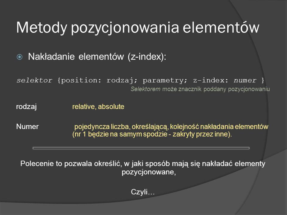 Metody pozycjonowania elementów Nakładanie elementów (z-index): selektor {position: rodzaj; parametry; z-index: numer } Selektorem może znacznik podda