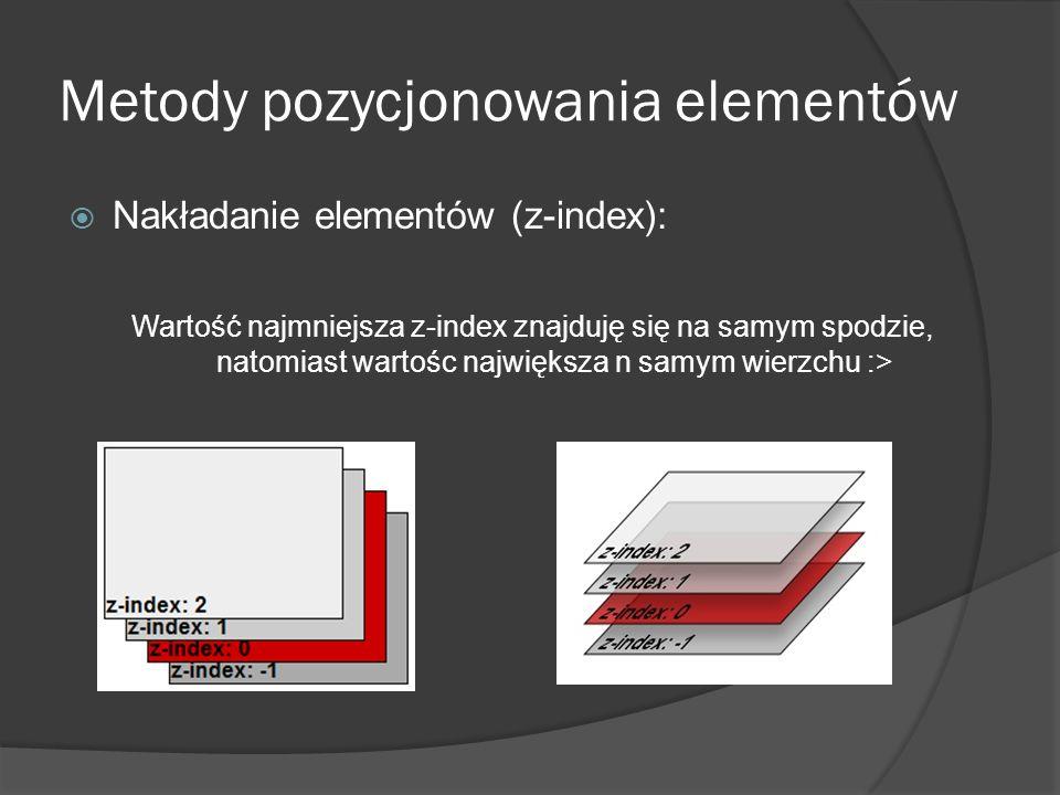 Metody pozycjonowania elementów Nakładanie elementów (z-index): Wartość najmniejsza z-index znajduję się na samym spodzie, natomiast wartośc największ