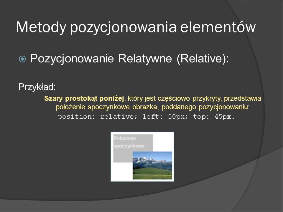 Metody pozycjonowania elementów Pozycjonowanie Relatywne (Relative): Przykład: Szary prostokąt poniżej, który jest częściowo przykryty, przedstawia po