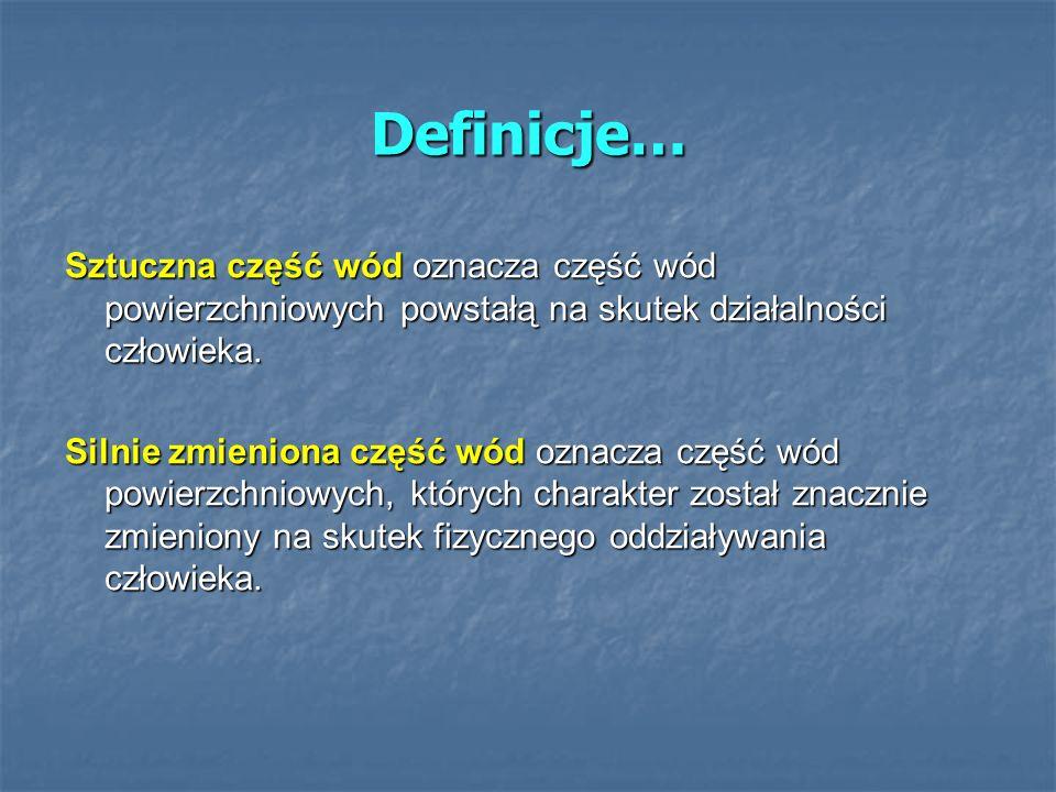 Definicje… Sztuczna część wód oznacza część wód powierzchniowych powstałą na skutek działalności człowieka. Silnie zmieniona część wód oznacza część w