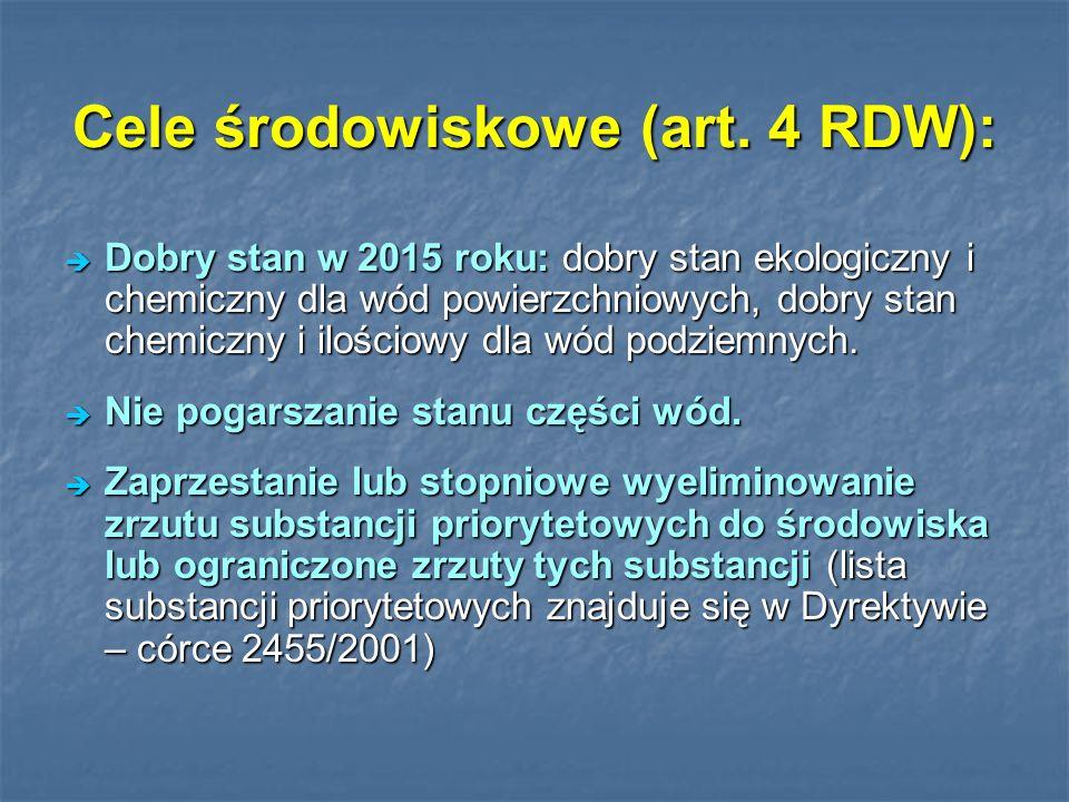 Cele środowiskowe (art. 4 RDW): Dobry stan w 2015 roku: dobry stan ekologiczny i chemiczny dla wód powierzchniowych, dobry stan chemiczny i ilościowy