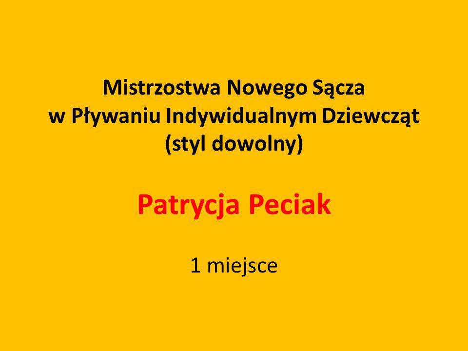 Mistrzostwa Nowego Sącza w Pływaniu Indywidualnym Dziewcząt (styl dowolny) Patrycja Peciak 1 miejsce