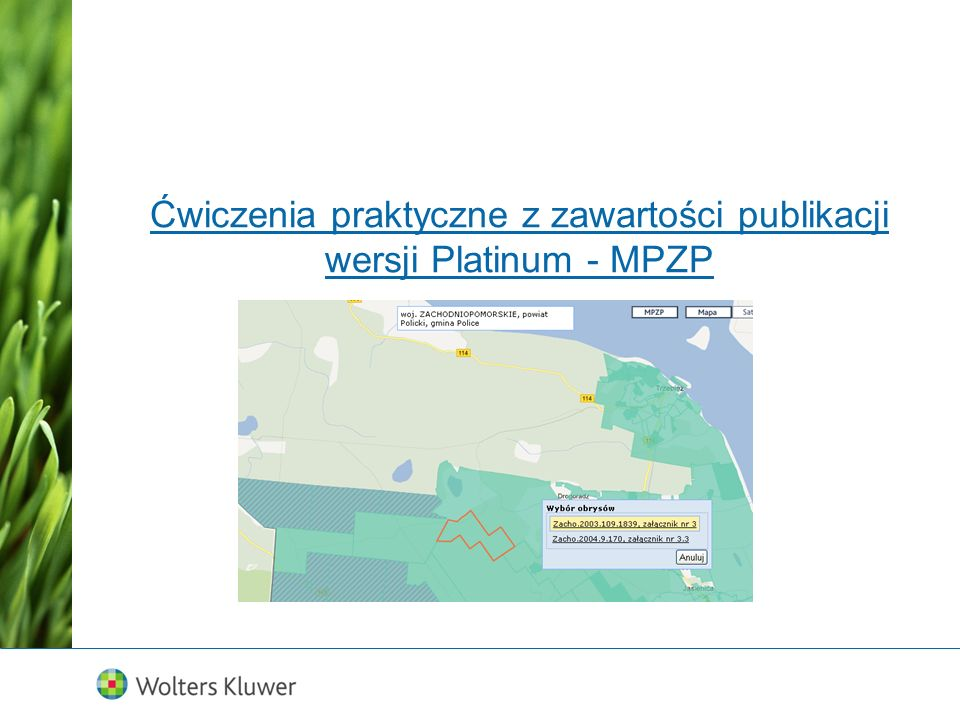 Ćwiczenia praktyczne z zawartości publikacji wersji Platinum - MPZP