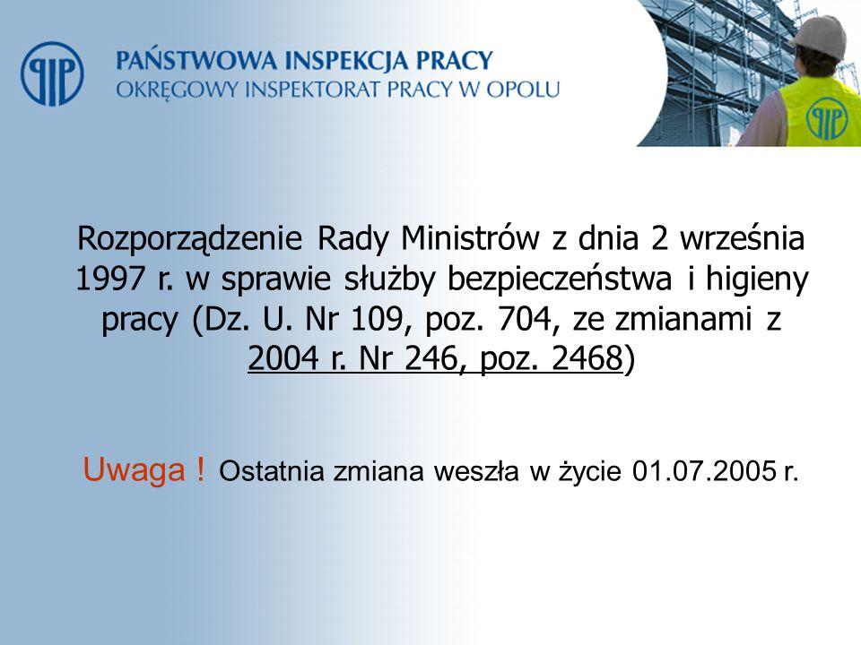 Rozporządzenie Rady Ministrów z dnia 2 września 1997 r. w sprawie służby bezpieczeństwa i higieny pracy (Dz. U. Nr 109, poz. 704, ze zmianami z 2004 r