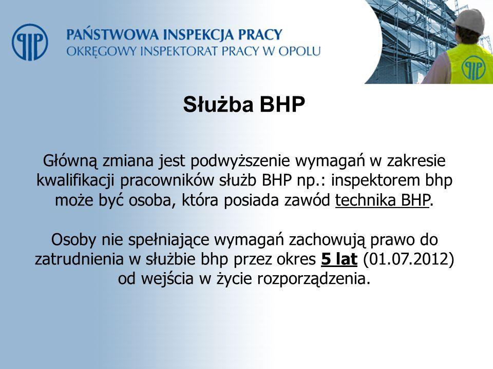 Służba BHP Główną zmiana jest podwyższenie wymagań w zakresie kwalifikacji pracowników służb BHP np.: inspektorem bhp może być osoba, która posiada za