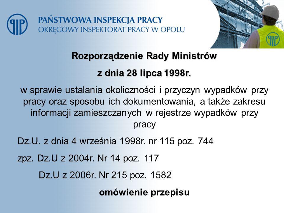 Rozporządzenie Rady Ministrów z dnia 28 lipca 1998r. w sprawie ustalania okoliczności i przyczyn wypadków przy pracy oraz sposobu ich dokumentowania,