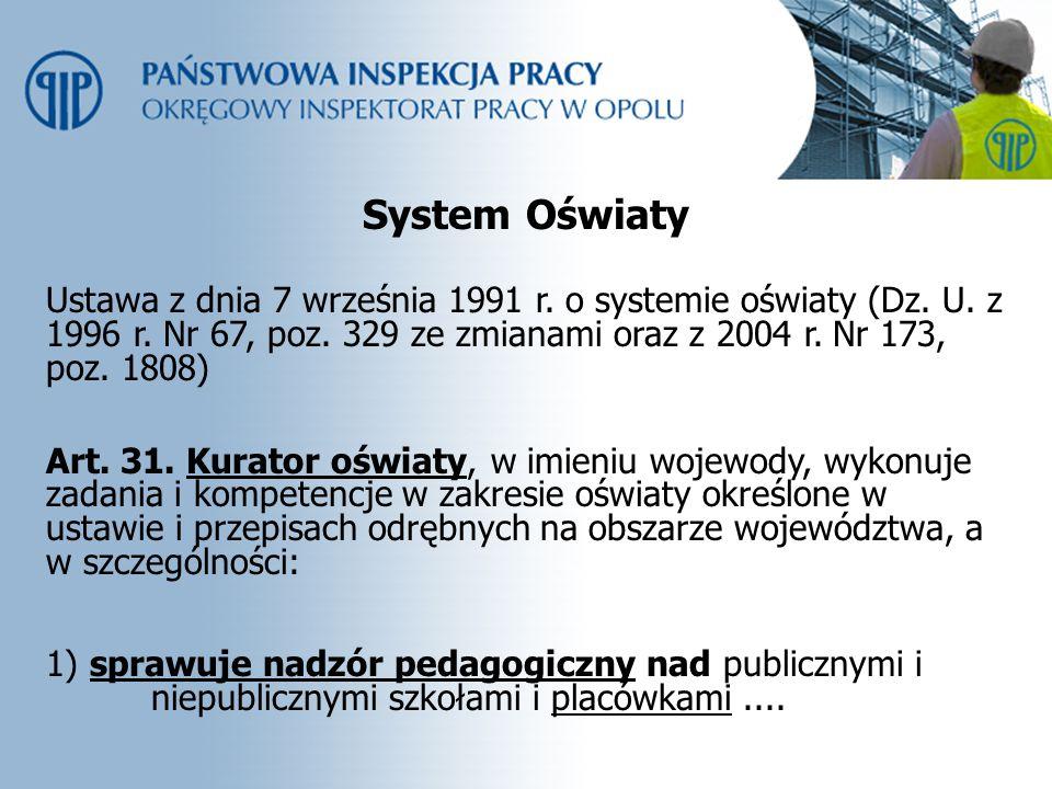 System Oświaty Ustawa z dnia 7 września 1991 r. o systemie oświaty (Dz. U. z 1996 r. Nr 67, poz. 329 ze zmianami oraz z 2004 r. Nr 173, poz. 1808) Art