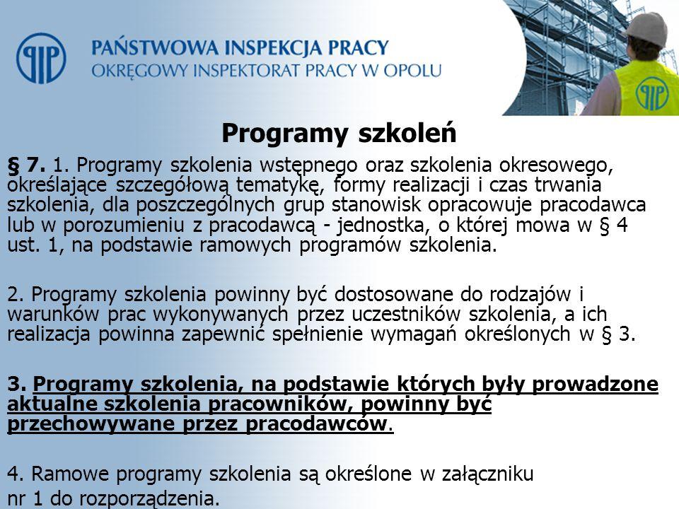 Programy szkoleń § 7. 1. Programy szkolenia wstępnego oraz szkolenia okresowego, określające szczegółową tematykę, formy realizacji i czas trwania szk