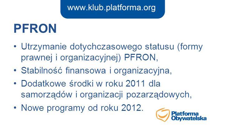 PFRON Utrzymanie dotychczasowego statusu (formy prawnej i organizacyjnej) PFRON, Stabilność finansowa i organizacyjna, Dodatkowe środki w roku 2011 dl