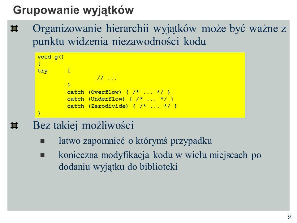 10 Wyjątki dziedziczone Wyjątki są zwykle wyłapywane przez procedurę obsługi przyjmującej argument typu klasy podstawowej, a nie pochodnej Obowiązująca w kodzie obsługi semantyka wyłapywania i nazywania wyjątków jest identyczna z semantyką funkcji przyjmującej argumenty Argument formalny jest inicjowany wartością argumentu Po wejściu do procedury obsługi zmienna m jest typu Matherr - dodatkowa informacja z klasy pochodnej jest niedostępna.