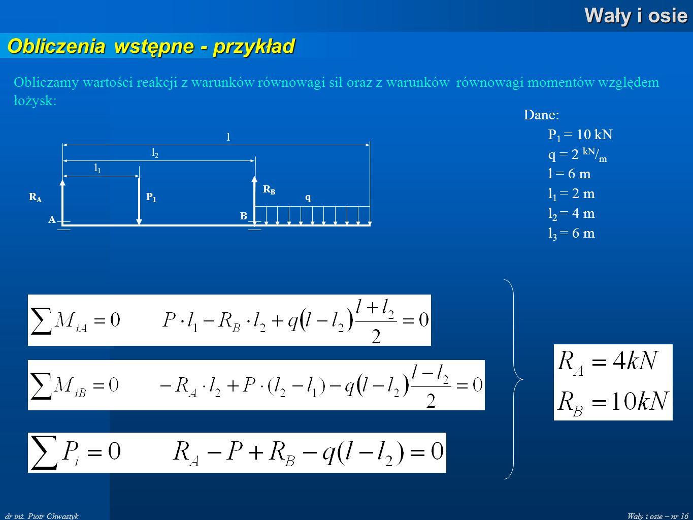 Wały i osie – nr 16 Wały i osie dr inż. Piotr Chwastyk Obliczenia wstępne - przykład Obliczamy wartości reakcji z warunków równowagi sił oraz z warunk