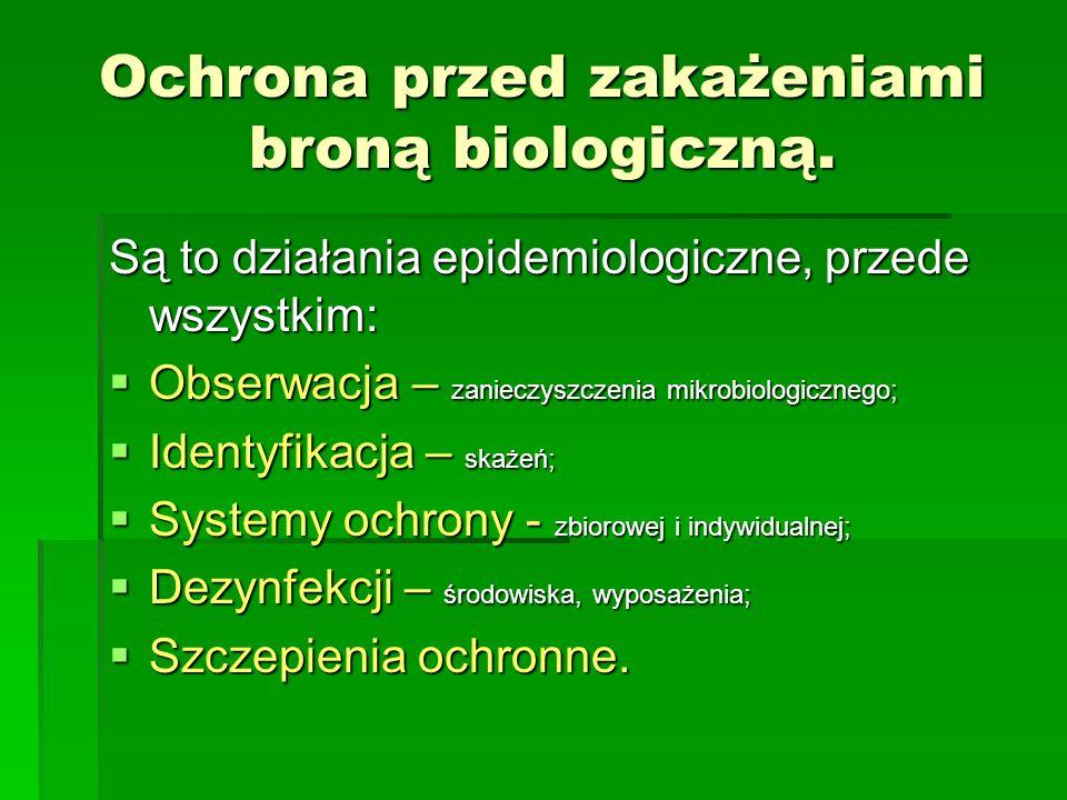 Ochrona przed zakażeniami broną biologiczną. Są to działania epidemiologiczne, przede wszystkim: Obserwacja – zanieczyszczenia mikrobiologicznego; Obs