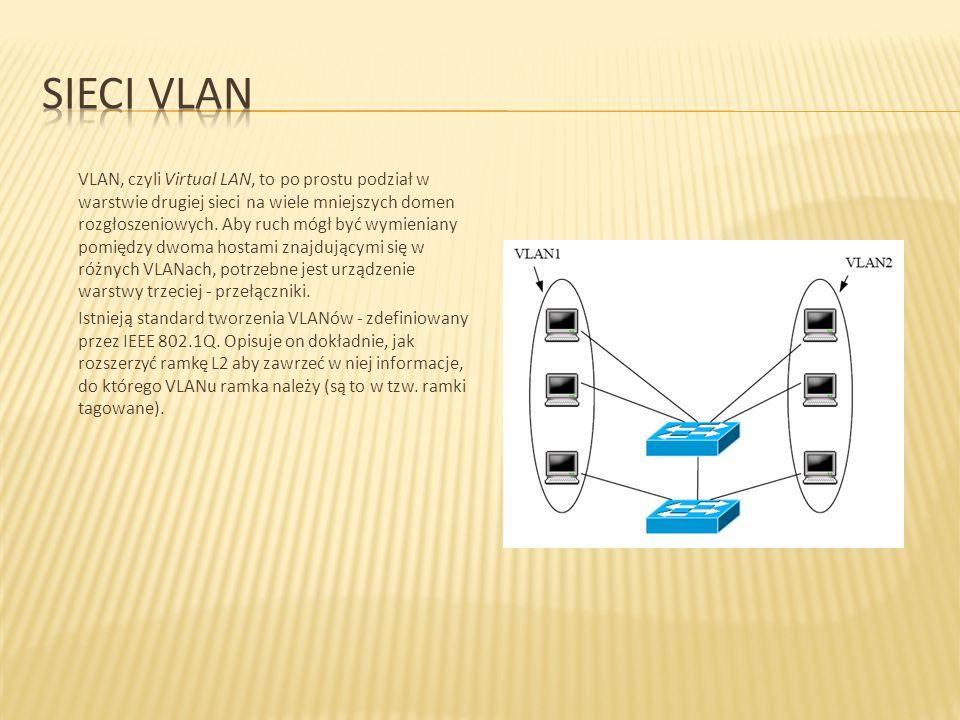 VLAN, czyli Virtual LAN, to po prostu podział w warstwie drugiej sieci na wiele mniejszych domen rozgłoszeniowych. Aby ruch mógł być wymieniany pomięd