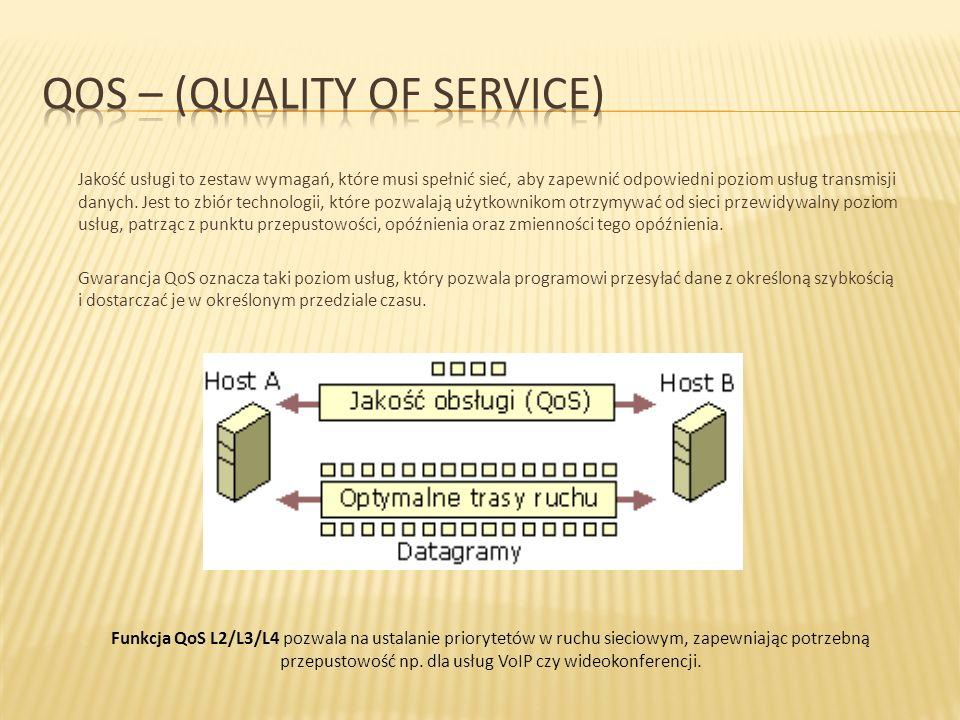 Jakość usługi to zestaw wymagań, które musi spełnić sieć, aby zapewnić odpowiedni poziom usług transmisji danych. Jest to zbiór technologii, które poz
