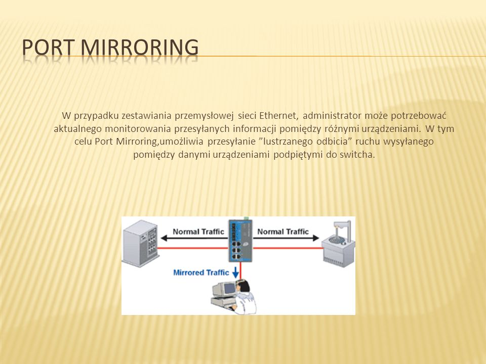 W przypadku zestawiania przemysłowej sieci Ethernet, administrator może potrzebować aktualnego monitorowania przesyłanych informacji pomiędzy różnymi