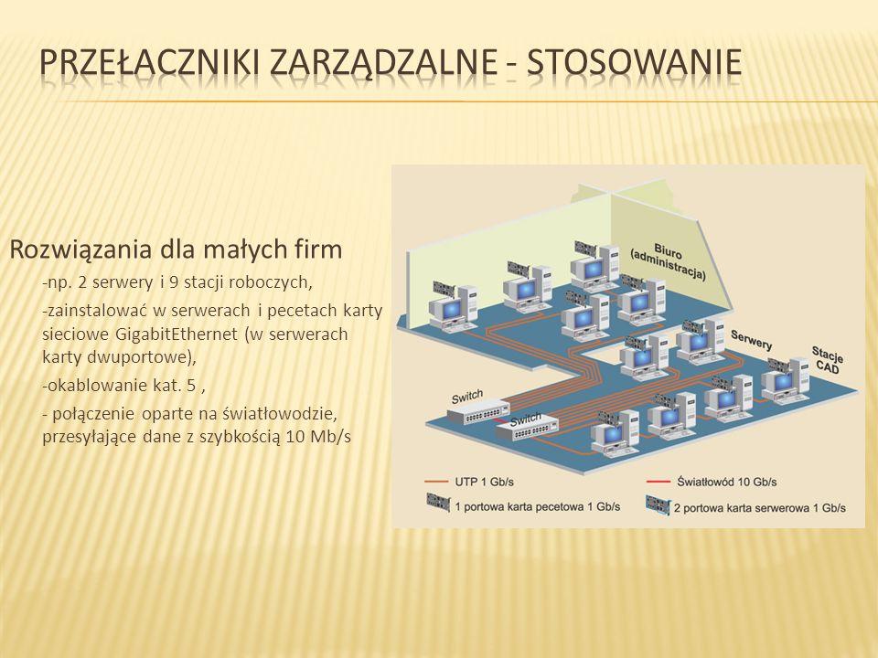 Rozwiązania dla małych firm -np. 2 serwery i 9 stacji roboczych, -zainstalować w serwerach i pecetach karty sieciowe GigabitEthernet (w serwerach kart
